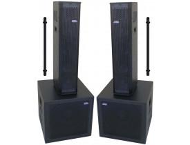 """Kit Ativo (4x6"""" Ti + Sub 15"""") 4 Caixas P.A. Compacto 2200w Easylink"""