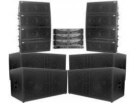 "Kit Passivo + Amplificador (Line Array 2x10"" + Sub 2x18"") 12 Cxs 12000-16000w"