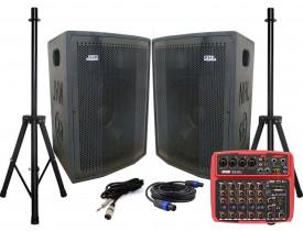 """KIT Caixas Ativa + Passiva Fal NHL 1400w 15"""" + Pedestais + Mesa com USB Bluetooth"""