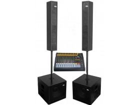 "Kit Caixas (4 pças) 6x4"" e Sub 12"" Full Range + Mesa 10ch SKP USB Eq Bluetooth"