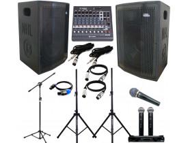 "KIT Caixas Ativa + Passiva 1000w 15"" + Pedestais + Mesa 8ch + Microfones"