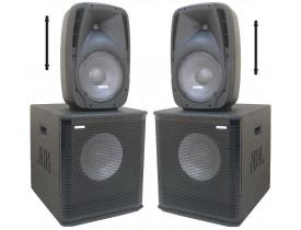 "Kit Ativo (10"" Ti + Sub 12"") 4 Caixas Home 1500w para Uso Residencia Amador  h1500"