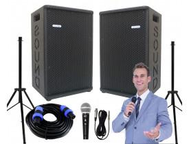 """Kit """"P40"""" para Oratória Louvor Campanha c/ 2 Caixas Microfone Pedestais"""