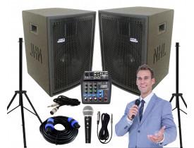 """Kit """"P80"""" para Oratória Louvor Campanha c/ Mesa de som 2 Caixas 2 Microfones 2 Pedestais"""