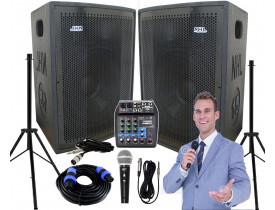 """Kit """"P120"""" para Oratória Louvor Campanha c/ Mesa de som 2 Caixas 2 Microfones 2 Pedestais"""