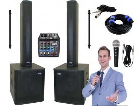 """Kit """"P150"""" para Oratória Louvor Campanha c/ Mesa de som 4 Caixas 2 Microfones 2 Pedestais"""