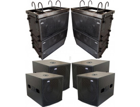 "Kit Ativo (Line Array 2x12""/2x8"" + Sub 18"") 10 Cxs 6400w"