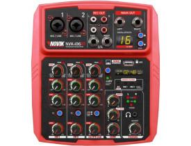 Mesa De Som Mixer NOVIK NVK-I06BT Bluetooth USB Efeitos