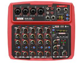 Mesa De Som Mixer NOVIK NVK-I08BT Bluetooth USB Efeitos